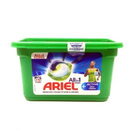 Ariel All in 1 Power 12 praní Active Deo Fresh kapsule na pranie